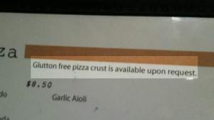 Misspelling of gluten free on this menu