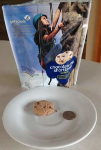The Gluten Free cookies are small, shortbread chocolate chip
