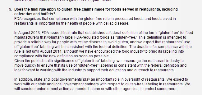 FDA's update for Restaurants who do Gluten Free Menus - November 2013
