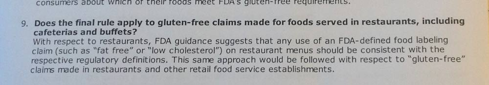 FDA's mention of restaurants in the Gluten Free Labeling Rule from August 2013