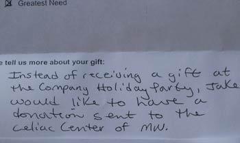 Donation request; Courtesy: Julie Salato, Celiac Center of MN