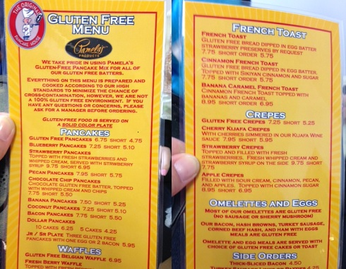 Front and back of Original Pancake House gluten free menu in Roseville, MN