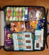 Suitcase filled with gluten free food