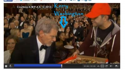 Kerry Washington during the pizza handout. Courtesy ABC.com