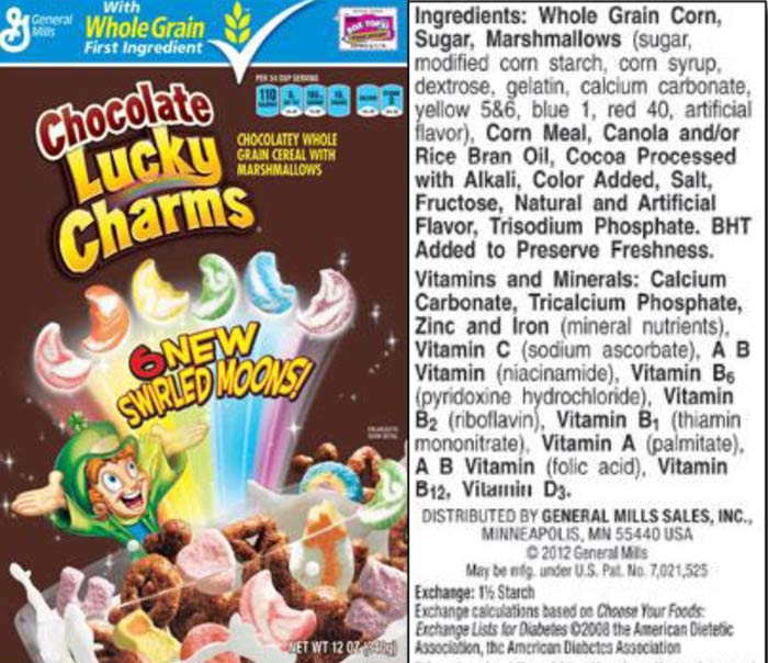 Ingredient listing from GeneralMills.com