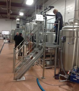 Breimhorst, pictured top right, inside the brewery that is strictly gluten free