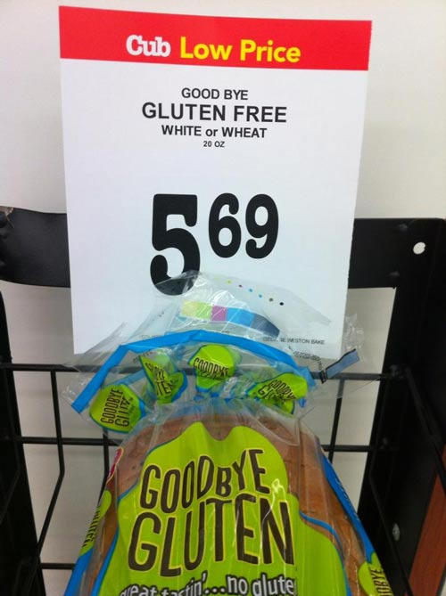 Incorrect in-store marketing for Good-bye Gluten bread at my supermarket