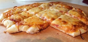 Finished gluten-free pizza using Glutino's pizza crust mix
