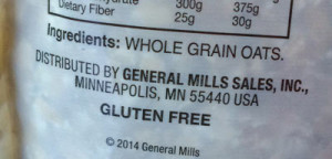 Chex GF Oatmeal ingredient label