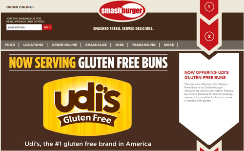 Smashburger's website promoting its addition of GF buns