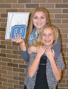 Emma & Grace at Emma's High School Academic Letter Awards night,  May 2014
