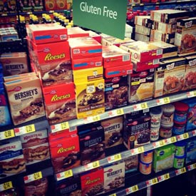 No GF products in gluten-free section at a Walmart recently visited by Jules Shepard; photo credit: Jules Shepard