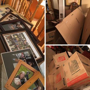 Taking down the photos and boxing up our house as we prepared for putting it on the market